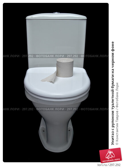 Унитаз с рулоном туалетной бумаги на черном фоне, фото № 297292, снято 23 ноября 2007 г. (c) Константин Тавров / Фотобанк Лори