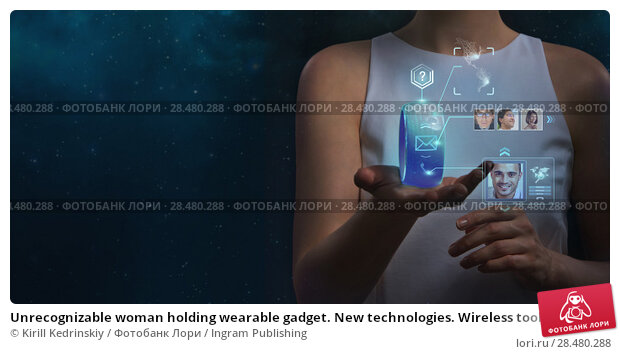 Купить «Unrecognizable woman holding wearable gadget. New technologies. Wireless tools. Future communications and social media concept.», фото № 28480288, снято 17 мая 2014 г. (c) Ingram Publishing / Фотобанк Лори