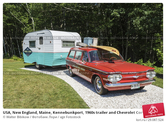 Купить «USA, New England, Maine, Kennebunkport, 1960s trailer and Chevrolet Corvair station wagon, sign for the Sandy Pines Campground.», фото № 29087524, снято 17 июля 2017 г. (c) age Fotostock / Фотобанк Лори