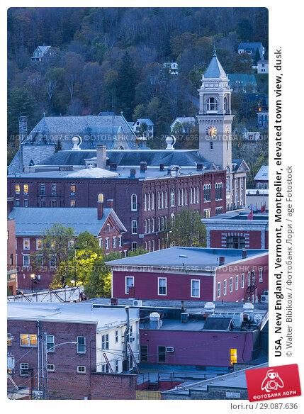 Купить «USA, New England, Vermont, Montpelier, elevated town view, dusk.», фото № 29087636, снято 4 октября 2017 г. (c) age Fotostock / Фотобанк Лори