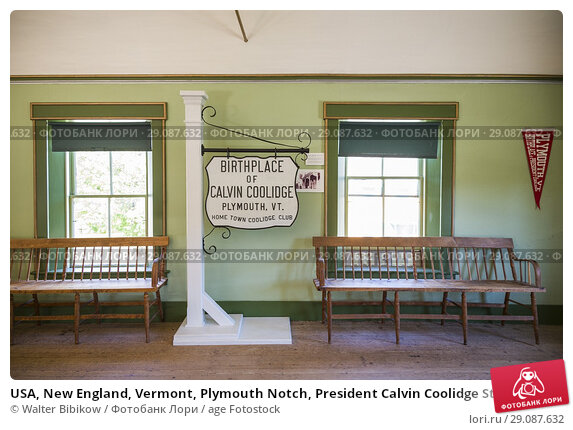 Купить «USA, New England, Vermont, Plymouth Notch, President Calvin Coolidge State Historic Site, village was the birthplace of US President Calvin Coolidge, Coolidge Hall, interior.», фото № 29087632, снято 2 октября 2017 г. (c) age Fotostock / Фотобанк Лори