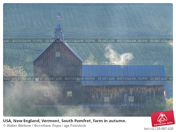 Купить «USA, New England, Vermont, South Pomfret, farm in autumn.», фото № 29087620, снято 3 октября 2017 г. (c) age Fotostock / Фотобанк Лори