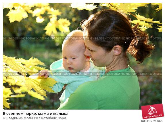 Купить «В осеннем парке: мама и малыш», фото № 94068, снято 30 сентября 2007 г. (c) Владимир Мельник / Фотобанк Лори