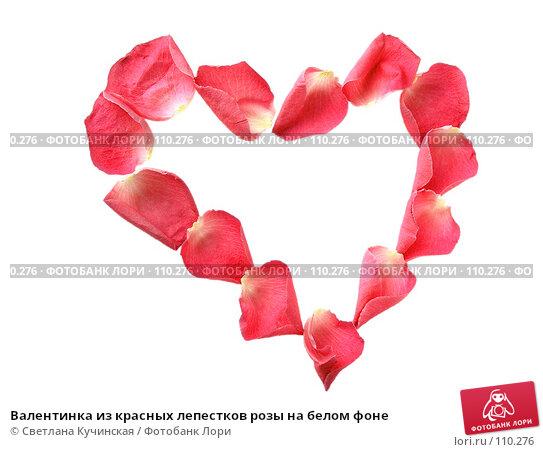 Валентинка из красных лепестков розы на белом фоне, фото № 110276, снято 25 октября 2016 г. (c) Светлана Кучинская / Фотобанк Лори