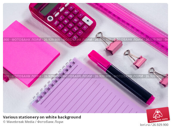 Various stationery on white background, фото № 26929900, снято 26 мая 2017 г. (c) Wavebreak Media / Фотобанк Лори
