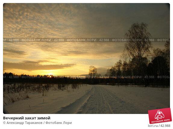 Вечерний закат зимой, эксклюзивное фото № 42988, снято 27 июля 2017 г. (c) Александр Тараканов / Фотобанк Лори