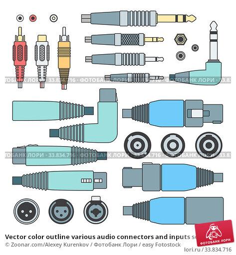 Купить «Vector color outline various audio connectors and inputs set», фото № 33834716, снято 10 июля 2020 г. (c) easy Fotostock / Фотобанк Лори