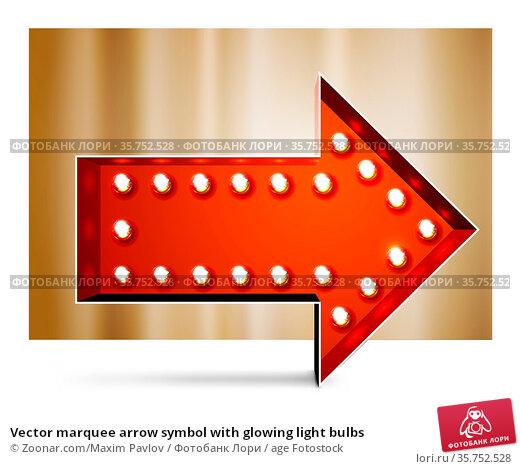 Vector marquee arrow symbol with glowing light bulbs. Стоковое фото, фотограф Zoonar.com/Maxim Pavlov / age Fotostock / Фотобанк Лори