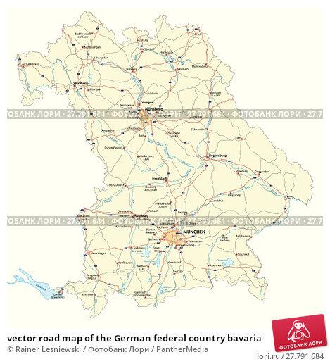 Купить «vector road map of the German federal country bavaria», иллюстрация № 27791684 (c) PantherMedia / Фотобанк Лори