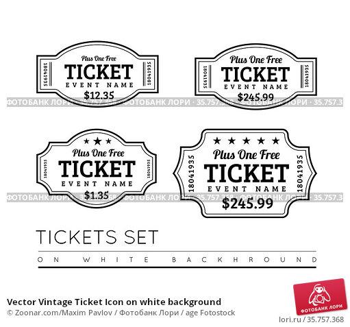 Vector Vintage Ticket Icon on white background. Стоковое фото, фотограф Zoonar.com/Maxim Pavlov / age Fotostock / Фотобанк Лори