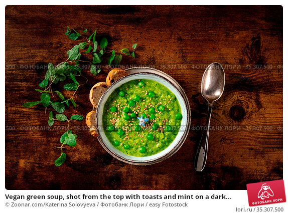 Vegan green soup, shot from the top with toasts and mint on a dark... Стоковое фото, фотограф Zoonar.com/Katerina Solovyeva / easy Fotostock / Фотобанк Лори