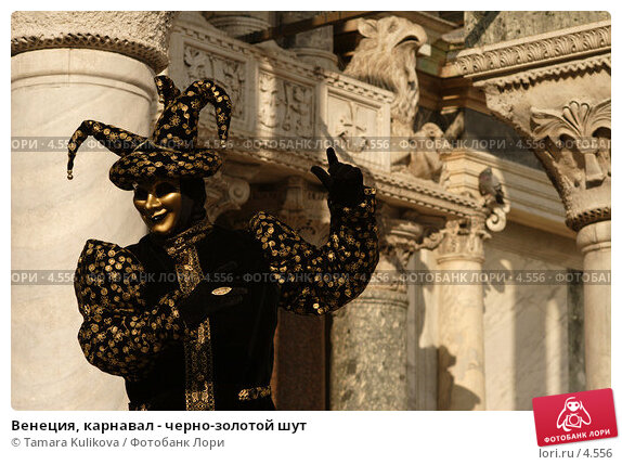 Венеция, карнавал - черно-золотой шут, фото № 4556, снято 27 февраля 2006 г. (c) Tamara Kulikova / Фотобанк Лори