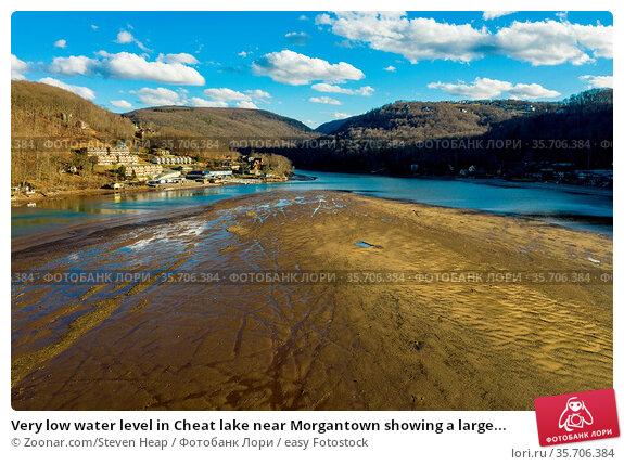 Very low water level in Cheat lake near Morgantown showing a large... Стоковое фото, фотограф Zoonar.com/Steven Heap / easy Fotostock / Фотобанк Лори