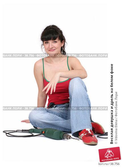 Купить «Веселая девушка и дрель на белом фоне», фото № 38756, снято 31 марта 2007 г. (c) Vdovina Elena / Фотобанк Лори