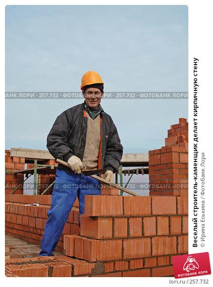 Веселый строитель-каменщик делает кирпичную стену, фото № 257732, снято 17 апреля 2008 г. (c) Ирина Еськина / Фотобанк Лори