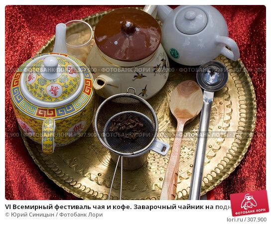 VI Всемирный фестиваль чая и кофе. Заварочный чайник на подносе, фото № 307900, снято 31 мая 2008 г. (c) Юрий Синицын / Фотобанк Лори