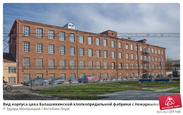 Вид корпуса цеха Балашихинской хлопкопрядильной фабрики с пожарными лестницами, фото № 297148, снято 23 апреля 2008 г. (c) Эдуард Межерицкий / Фотобанк Лори