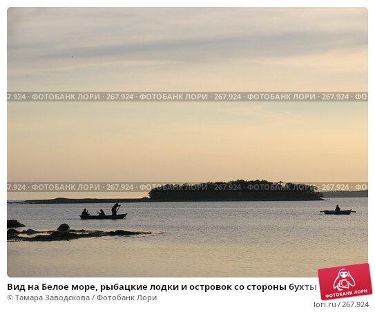 Вид на Белое море, рыбацкие лодки и островок со стороны бухты Благополучия Соловецкого монастыря в сумерках, эксклюзивное фото № 267924, снято 13 июля 2007 г. (c) Тамара Заводскова / Фотобанк Лори