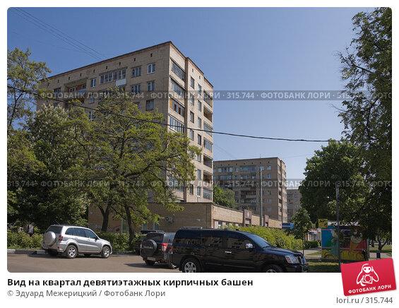 Купить «Вид на квартал девятиэтажных кирпичных башен», фото № 315744, снято 29 мая 2008 г. (c) Эдуард Межерицкий / Фотобанк Лори
