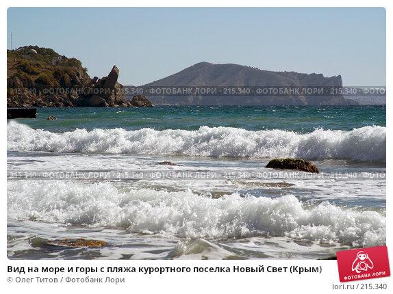 Вид на море и горы с пляжа курортного поселка Новый Свет (Крым), фото № 215340, снято 17 сентября 2006 г. (c) Олег Титов / Фотобанк Лори