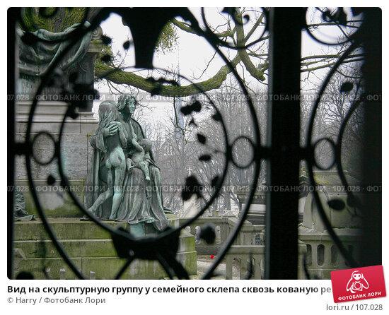 Вид на скульптурную группу у семейного склепа сквозь кованую решетку, фото № 107028, снято 26 февраля 2006 г. (c) Harry / Фотобанк Лори