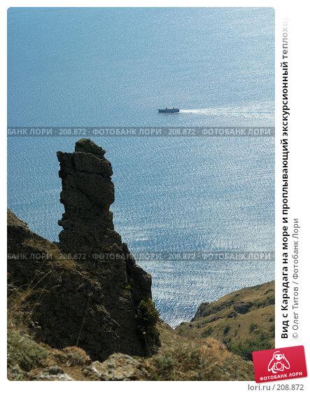 Вид с Карадага на море и проплывающий экскурсионный теплоход, фото № 208872, снято 11 сентября 2006 г. (c) Олег Титов / Фотобанк Лори