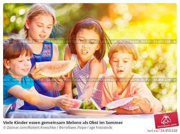 Viele Kinder essen gemeinsam Melone als Obst im Sommer. Стоковое фото, фотограф Zoonar.com/Robert Kneschke / age Fotostock / Фотобанк Лори