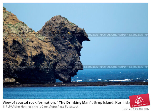 Купить «View of coastal rock formation, ´The Drinking Man´, Urup Island, Kuril Islands, Sea of Okhotsk, Sakhalin Oblast, Russian Far East, Russia, june», фото № 13302896, снято 23 мая 2019 г. (c) age Fotostock / Фотобанк Лори