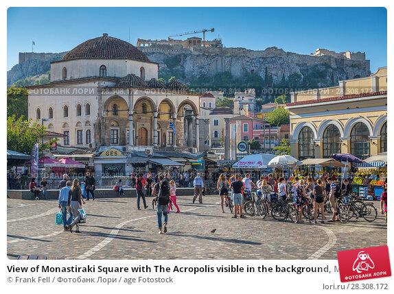 Купить «View of Monastiraki Square with The Acropolis visible in the background, Monastiraki District, Athens, Greece, Europe», фото № 28308172, снято 17 октября 2017 г. (c) age Fotostock / Фотобанк Лори