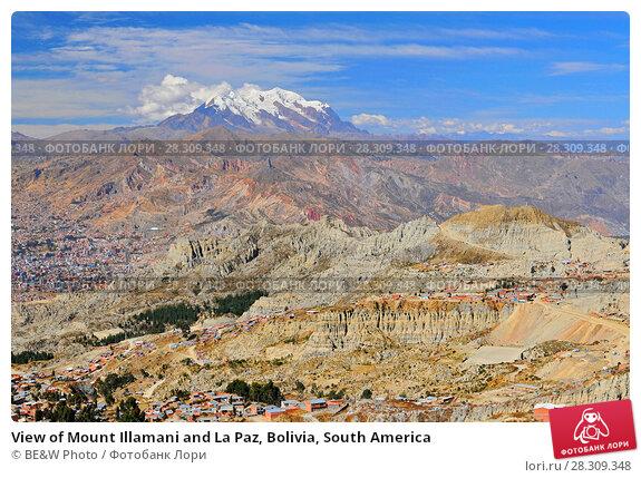 Купить «View of Mount Illamani and La Paz, Bolivia, South America», фото № 28309348, снято 20 апреля 2018 г. (c) BE&W Photo / Фотобанк Лори