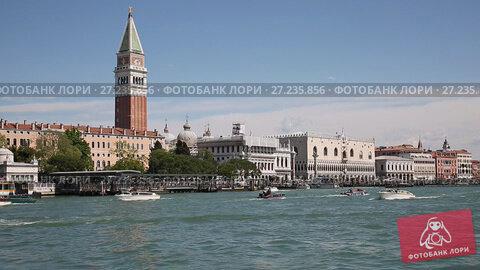Купить «View of the Venetian lagoon and the waterfront of Piazza San Marco, Venice, Italy», видеоролик № 27235856, снято 24 ноября 2017 г. (c) Наталья Волкова / Фотобанк Лори