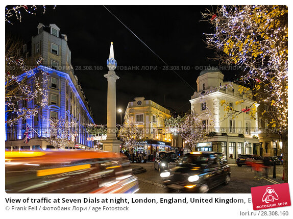 Купить «View of traffic at Seven Dials at night, London, England, United Kingdom, Europe», фото № 28308160, снято 21 декабря 2017 г. (c) age Fotostock / Фотобанк Лори