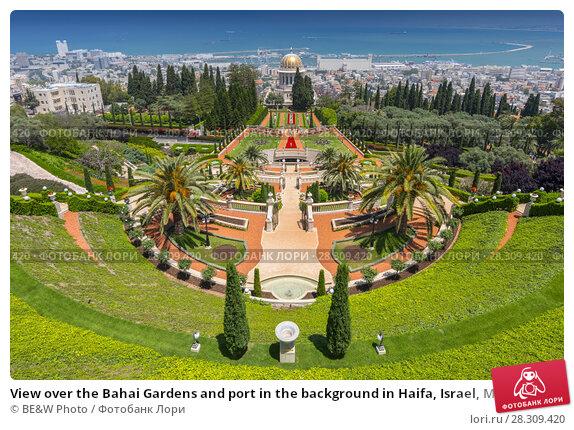 Купить «View over the Bahai Gardens and port in the background in Haifa, Israel, Middle East», фото № 28309420, снято 25 апреля 2018 г. (c) BE&W Photo / Фотобанк Лори