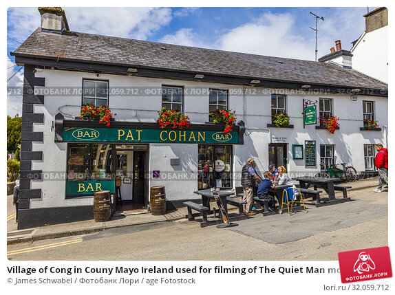Village of Cong in Couny Mayo Ireland used for filming of The Quiet Man movie with John Wayne and Maureen O'Hara. Стоковое фото, фотограф James Schwabel / age Fotostock / Фотобанк Лори