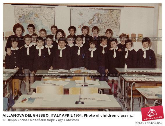 VILLANOVA DEL GHEBBO, ITALY APRIL 1964: Photo of children class in... Редакционное фото, фотограф Filippo Carlot / age Fotostock / Фотобанк Лори