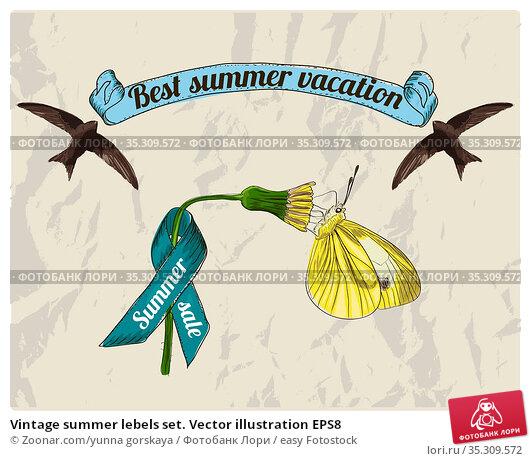 Vintage summer lebels set. Vector illustration EPS8. Стоковое фото, фотограф Zoonar.com/yunna gorskaya / easy Fotostock / Фотобанк Лори