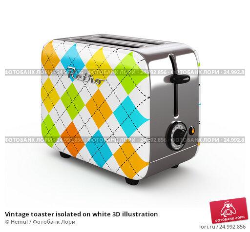 Купить «Vintage toaster isolated on white 3D illustration», иллюстрация № 24992856 (c) Hemul / Фотобанк Лори