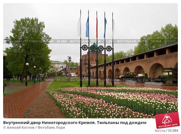 Внутренний двор Нижегородского Кремля. Тюльпаны под дождем, эксклюзивное фото № 33984, снято 20 мая 2006 г. (c) Алексей Котлов / Фотобанк Лори