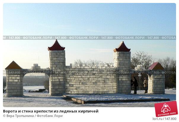 Ворота и стена крепости из ледяных кирпичей, фото № 147800, снято 14 декабря 2007 г. (c) Вера Тропынина / Фотобанк Лори
