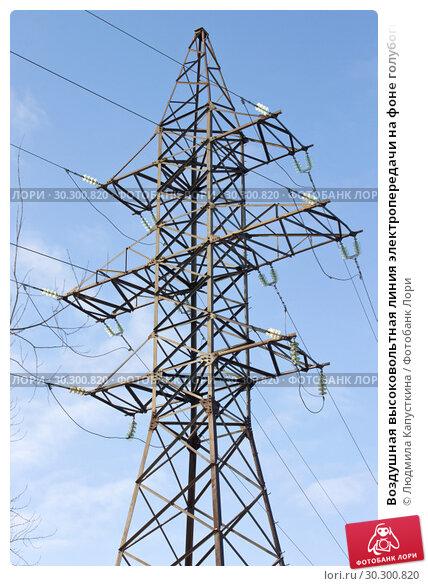 Купить «Воздушная высоковольтная линия электропередачи на фоне голубого неба», фото № 30300820, снято 13 марта 2019 г. (c) Людмила Капусткина / Фотобанк Лори