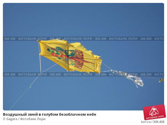 Купить «Воздушный змей в голубом безоблачном небе», фото № 308408, снято 10 марта 2008 г. (c) Gagara / Фотобанк Лори