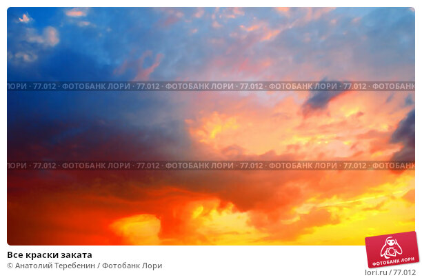 Все краски заката, фото № 77012, снято 16 августа 2007 г. (c) Анатолий Теребенин / Фотобанк Лори
