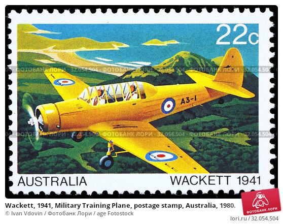 Wackett, 1941, Military Training Plane, postage stamp, Australia, 1980. (2014 год). Редакционное фото, фотограф Ivan Vdovin / age Fotostock / Фотобанк Лори