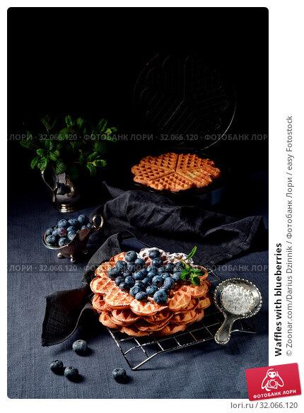 Waffles with blueberries. Стоковое фото, фотограф Zoonar.com/Darius Dzinnik / easy Fotostock / Фотобанк Лори