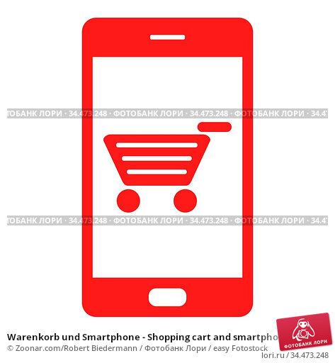 Warenkorb und Smartphone - Shopping cart and smartphone. Стоковое фото, фотограф Zoonar.com/Robert Biedermann / easy Fotostock / Фотобанк Лори