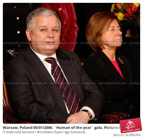 Warsaw, Poland 05/01/2006. `Human of the year` gala. Pictured: President Lech Kaczynski. Редакционное фото, фотограф bialorucki bernard / age Fotostock / Фотобанк Лори