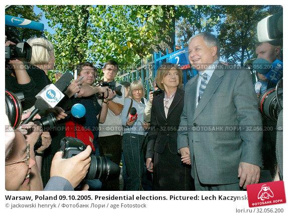 Warsaw, Poland 09.10.2005. Presidential elections. Pictured: Lech Kaczynski with his family. Редакционное фото, фотограф jackowski henryk / age Fotostock / Фотобанк Лори