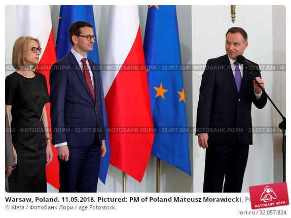 Warsaw, Poland. 11.05.2018. Pictured: PM of Poland Mateusz Morawiecki, President Andrzej Duda, Teresa Czerwinska. Редакционное фото, фотограф Kleta / age Fotostock / Фотобанк Лори
