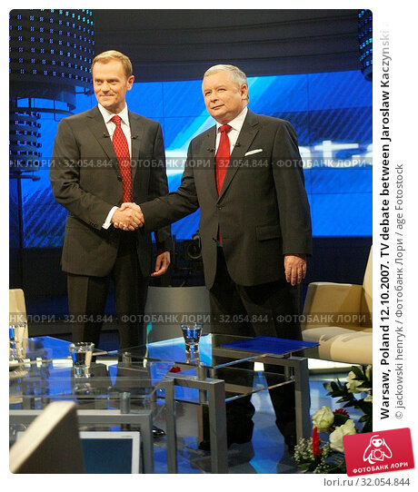 Warsaw, Poland 12.10.2007. TV debate between Jaroslaw Kaczynski and Donald Tusk. Редакционное фото, фотограф jackowski henryk / age Fotostock / Фотобанк Лори