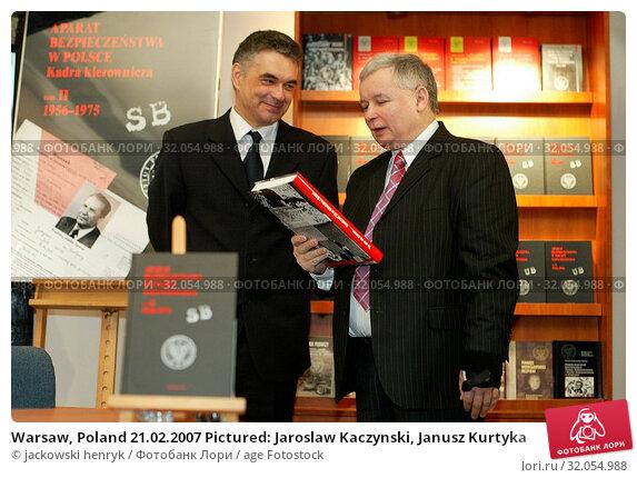 Warsaw, Poland 21.02.2007 Pictured: Jaroslaw Kaczynski, Janusz Kurtyka. Редакционное фото, фотограф jackowski henryk / age Fotostock / Фотобанк Лори